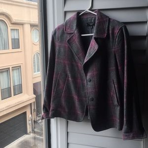 Pink and gray plaid lined wool blazer jacket